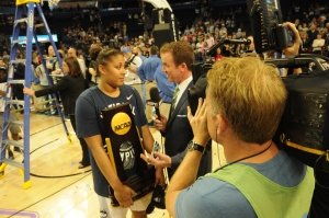 Kaleena Mosqueda-Lewis is interviewed by ESPN's Bob Holtzman after winning the National Championship.