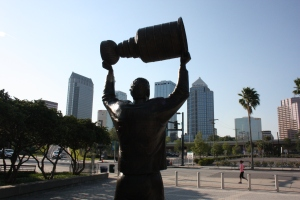 Many champions have been crowned at Amalie Arena in Tampa, as represented by this statue of Dave Andrechuk holding up the Stanley Cup after winning it with the Tampa Bay Lightning in 2004.